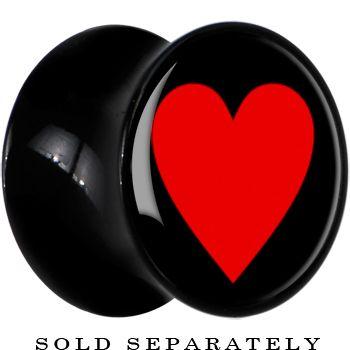 00 gauge black acrylic black red heart saddle plugs.