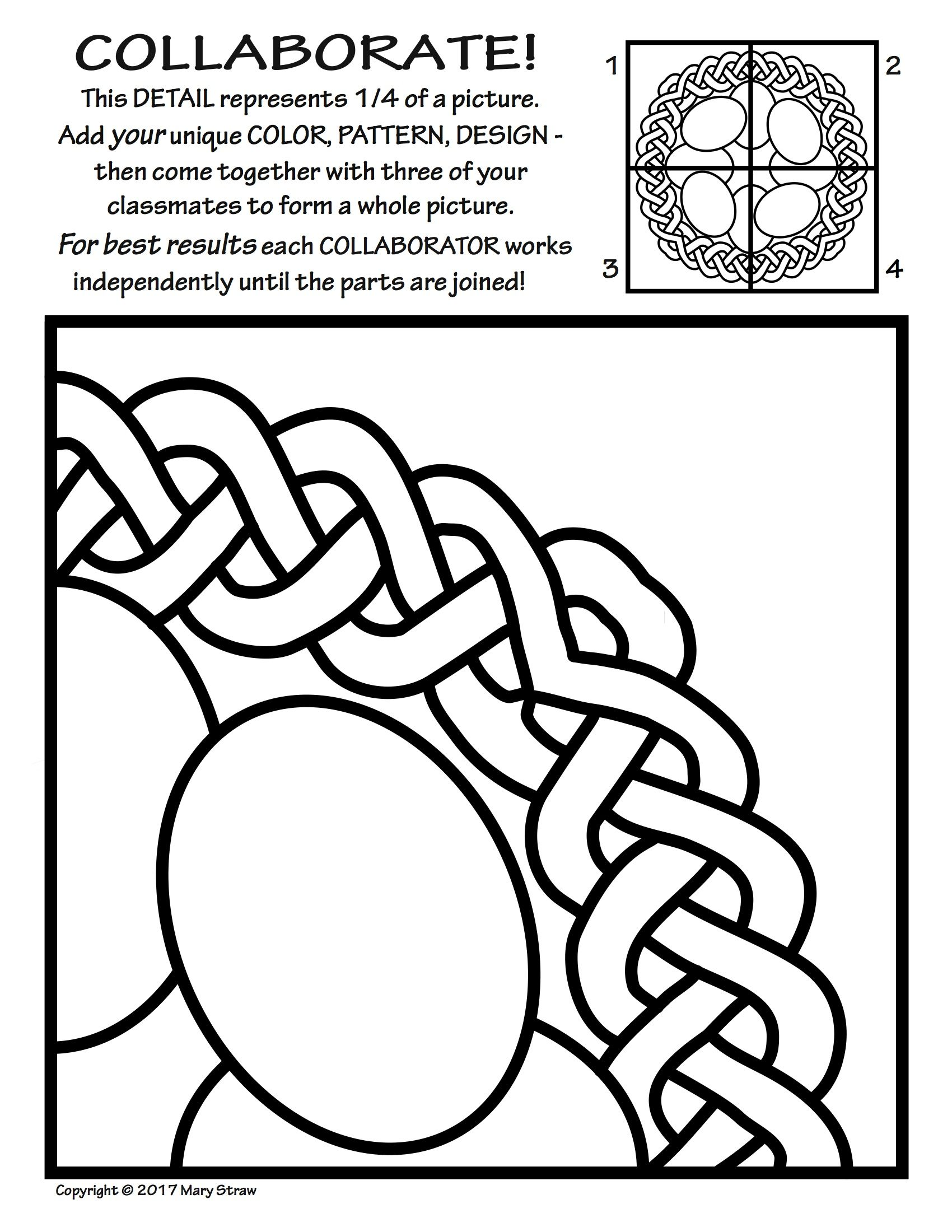 Radial Symmetry 2 Collaborative Activity Coloring Pages Kids