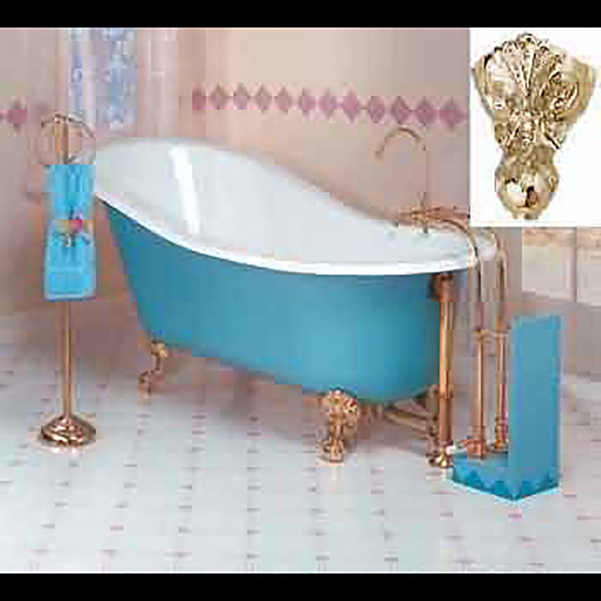 Item #10364 : Blue Cast Iron Clawfoot Slipper Tub Gold Iron Eagle ...