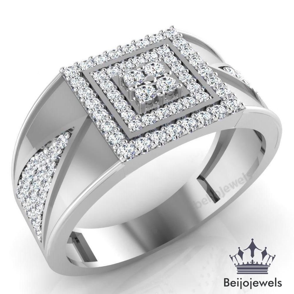 10k white gold 150 ct mens round diamond engagement