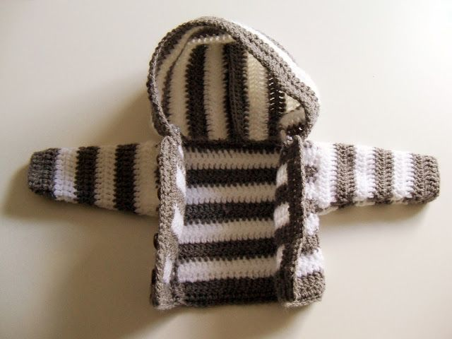 Panpancrafts Tutorial Simple Crochet Striped Hooded Baby Jacket
