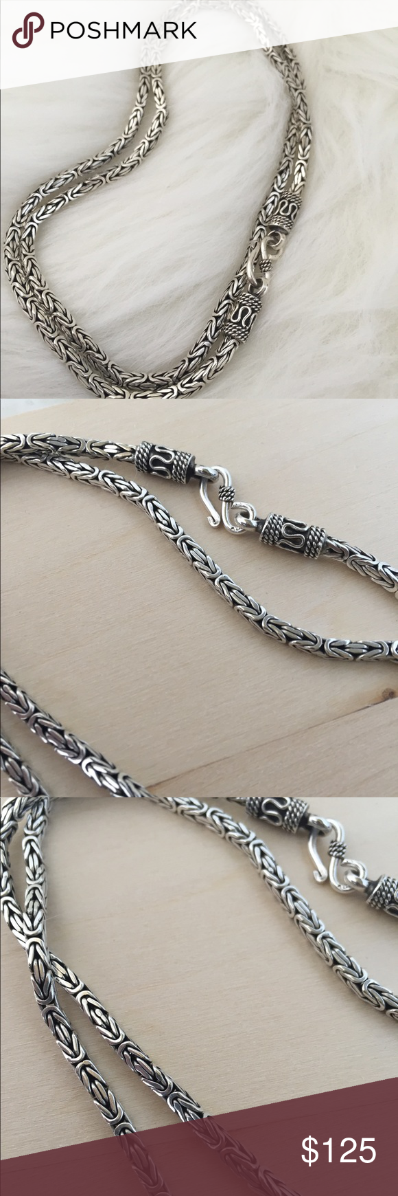 1.5mm Bar Link Heshe Italian Chain in Solid 925 Italy Sterling Silver w// Rhodium
