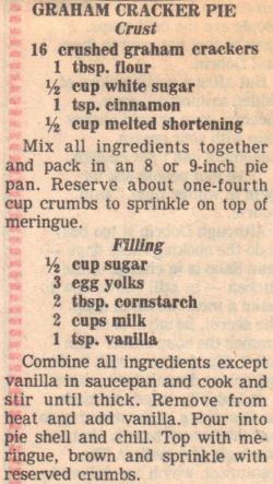 Recipe Clipping For Graham Cracker Cream Pie #homemadegrahamcrackercrust