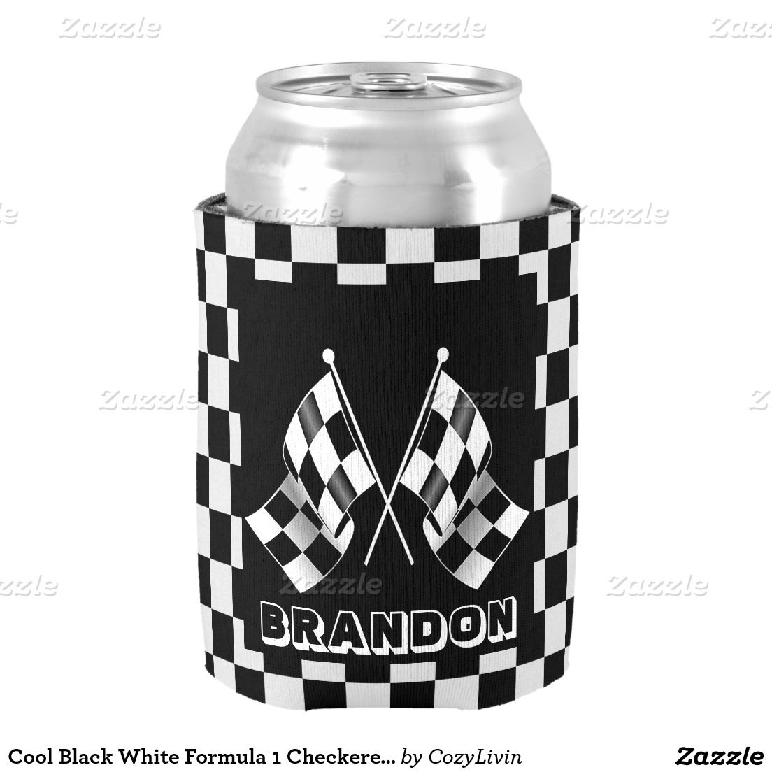 Custom Cool Formula 1 Checkered Flag Pattern Can Cooler