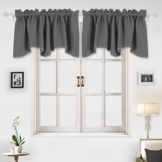 Amazon Com Deconovo Solid Color Valance Rod Pocket Curtains Short