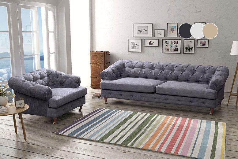Luxury Linen Chesterfield Sofa Range 3 Colours