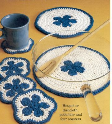 Free Crochet Pattern For This Beauti Useful Kitchen Set If I Had