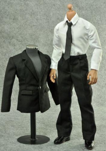 ZY TOYS 1/6 Narrow Shoulder Body Black Suit Fashion Male