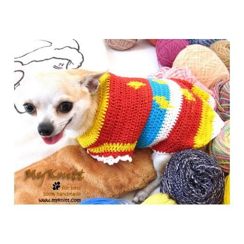 Colorful Plaid Dog Sweater Using A Unique Crochet Pattern Designed