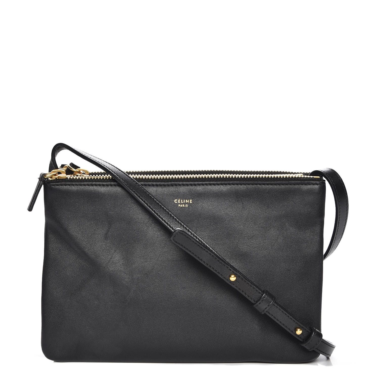 8a9ded5a7d38 This is an authentic CELINE Lambskin Small Trio Crossbody Bag in Black.  This chic cross