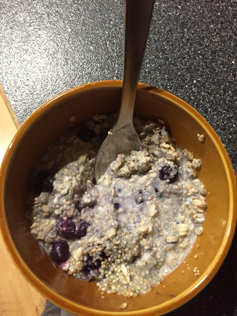 Morning breakfast - oats, almond milk, quinoa, blueberries