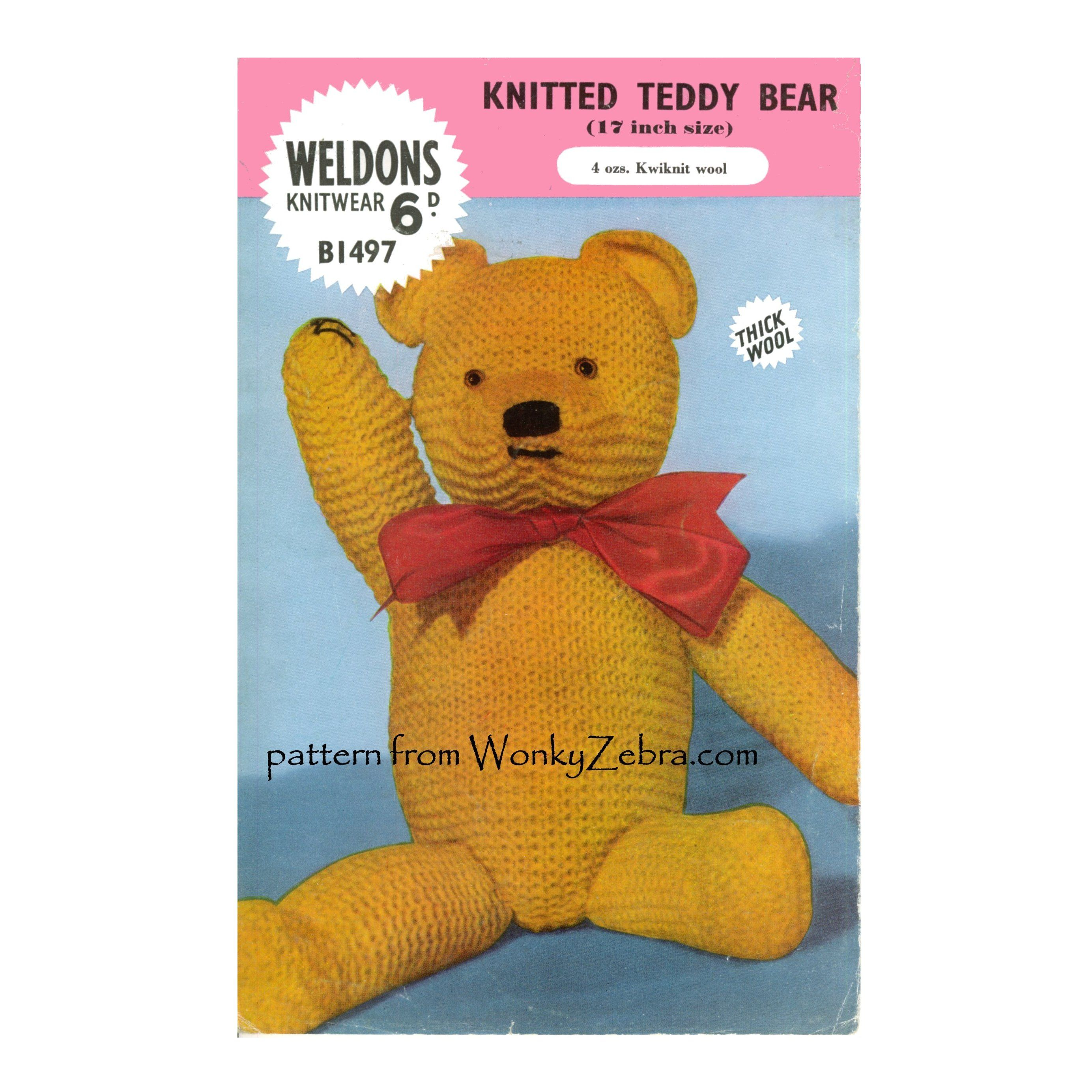 Weldons b1497 vintage knitting pattern for a little teddy bear weldons b1497 vintage knitting pattern for a little teddy bear wz464 from wonkyzebra bankloansurffo Gallery