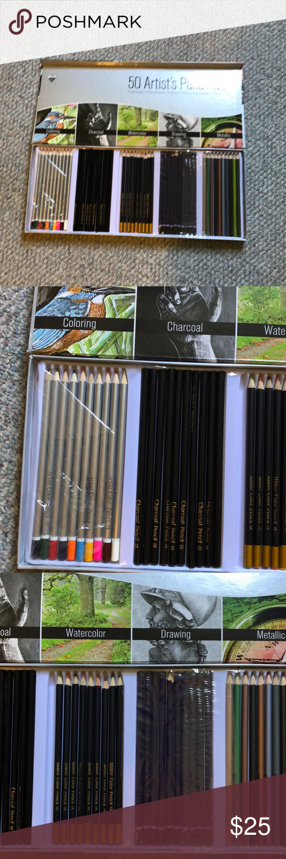 Artist pencil set charcoal, watercolor, drawing Artist