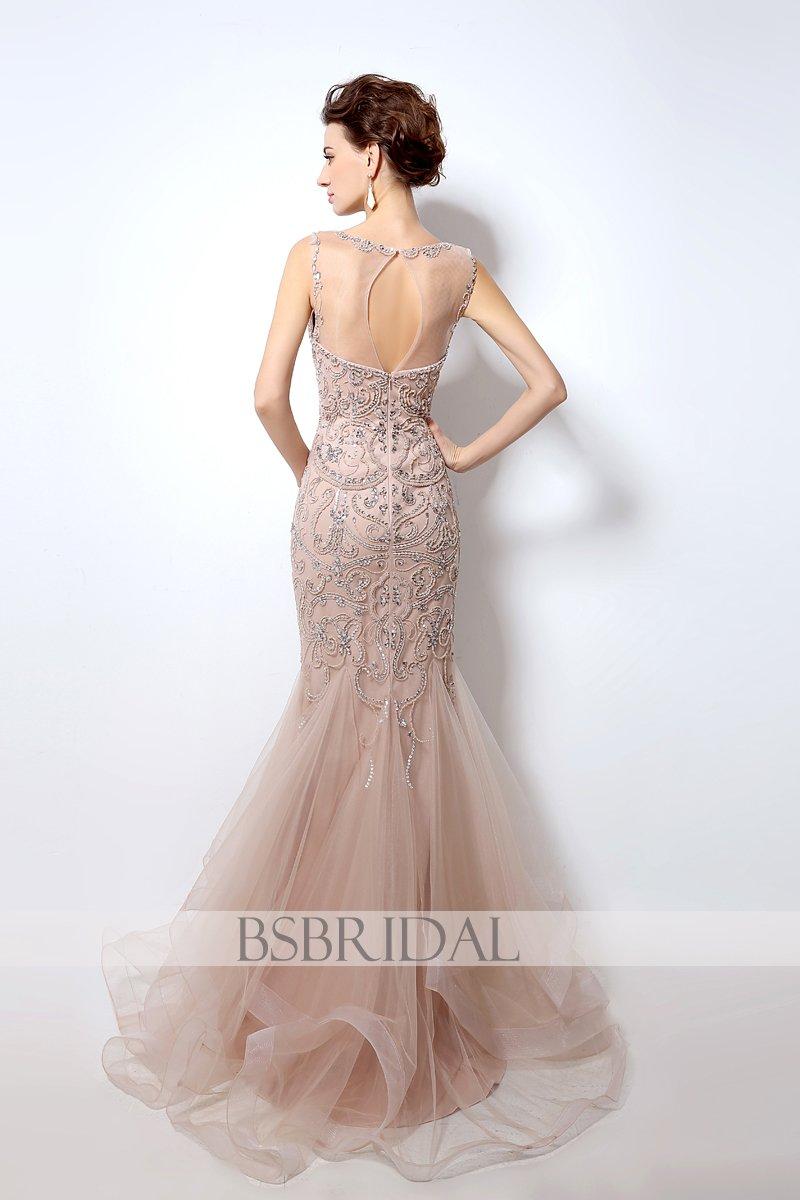 Charming formal elegant mermaid beaded long prom dress lx us