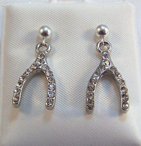 Clear Crystal Wishbone Charms on 4mm Silver by GoldChestJewelry, $8.95