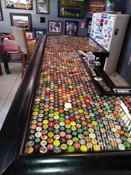 Bottle Caps With Epoxy Bar Top Ideas | Diy table top, Bar ...