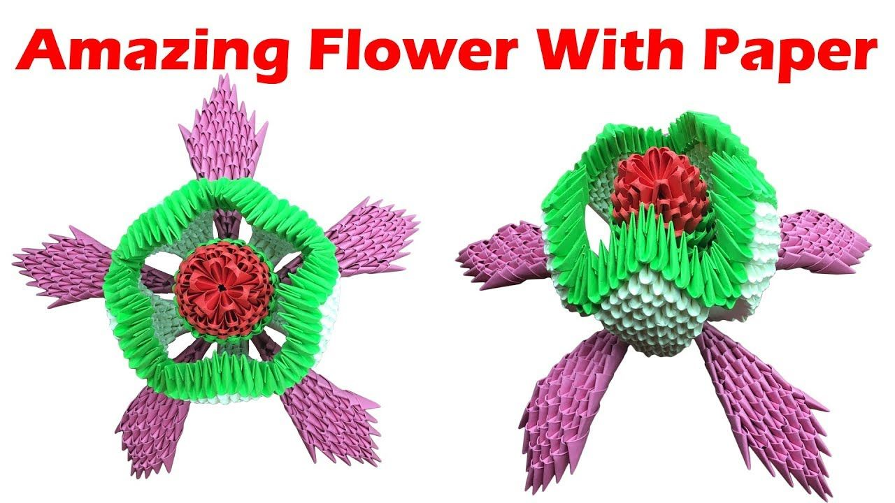 How To Make 3d Origami Flower Art Paper Flower Model Easy Making