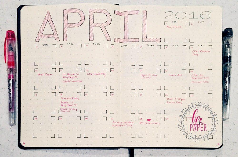 Dot Calendar Bullet Journal : Bullet journal monthly spread smash book