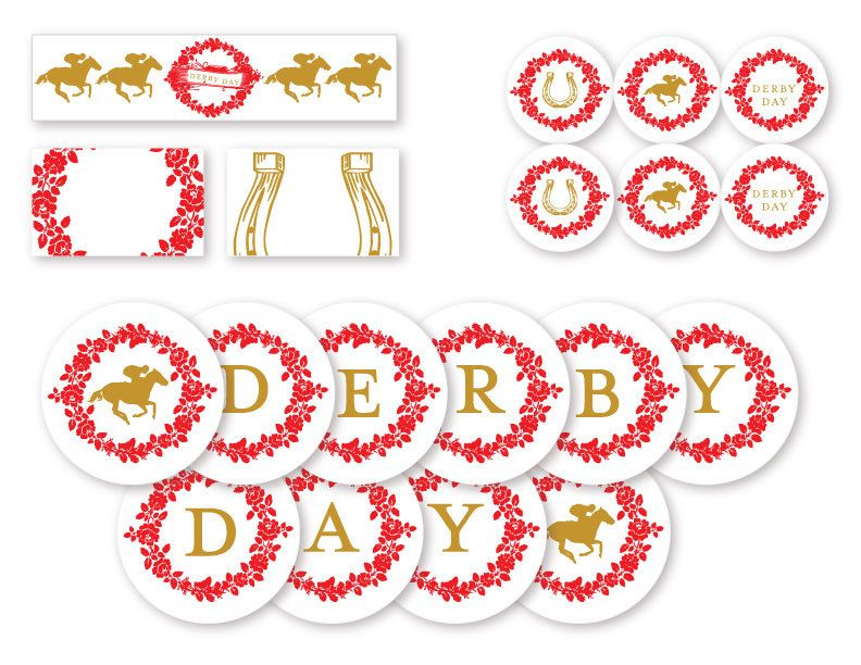 PRINTABLE PDF set Kentucky Derby party decorations