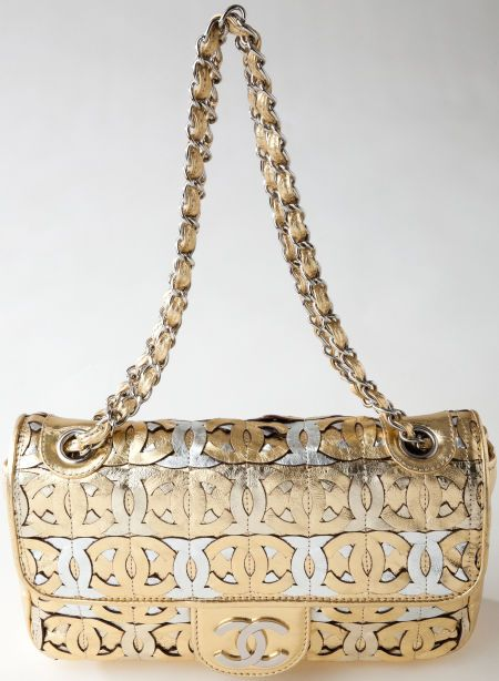 Heritage Vintage Chanel Gold And Silver Metallic Monogram Flap Bag With Silver Chain Vintage Chanel Bag Metallic Monogram Bags