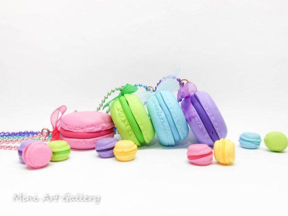 Macaron necklace pendant / fuchsia green blue purple / polymer clay handmade miniature food, mini sweets kawaii foodie, french paris, chain. © Mini Art Gallery