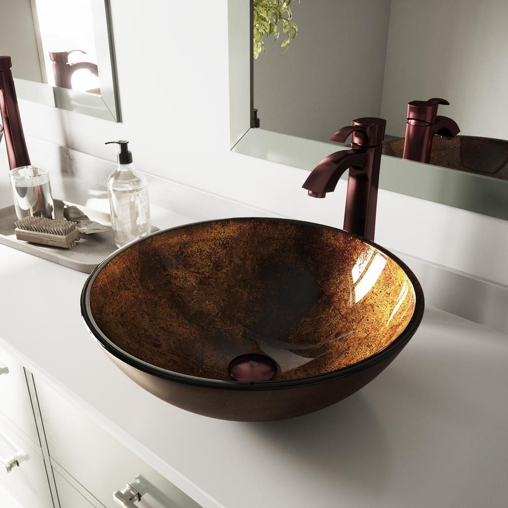 Vigo Russet Glass Vessel Bathroom Sink Set In Brown With Oil