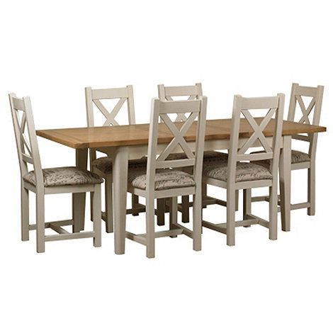 Debenhams Oak And Painted Wadebridge Extending Table 6 Chairs With Printed Fabric Seats