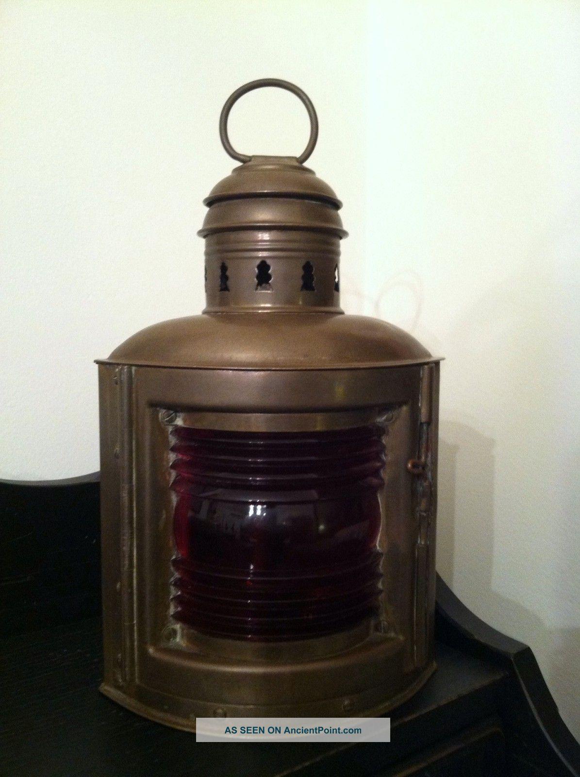 Ships Lantern Wall Lights : Vintage Brass Ship Lantern Antique Nautical Brass Ship Lamp Boat Red Navigation Lamps & Lighting ...