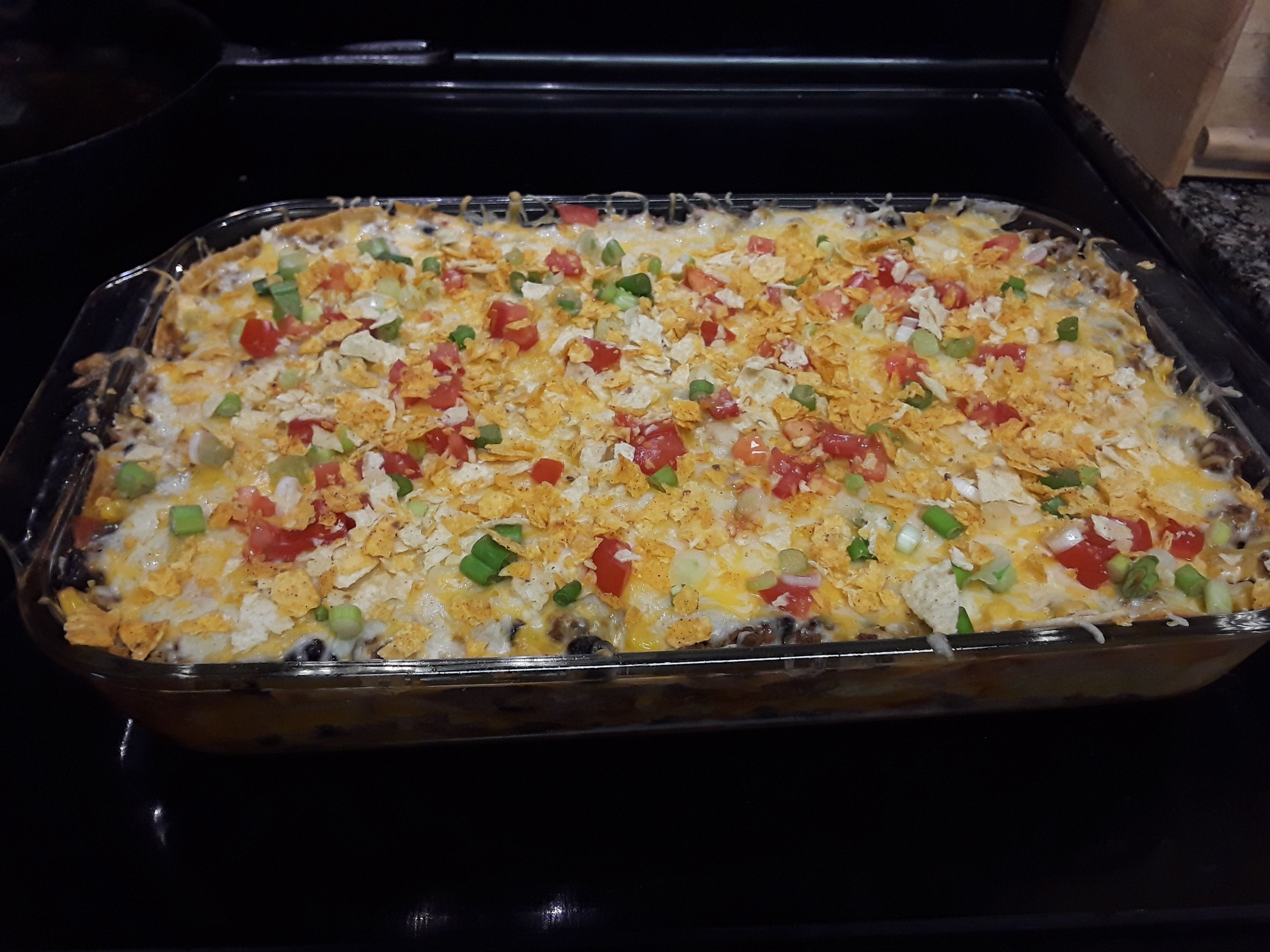 Mexican Ground Beef Tortilla Layer Casserole Recipe Food Com Recipe Recipes Corn Tortilla Recipes Mexican Food Recipes