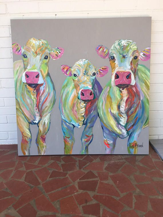 Abstract Cow Family Cow Canvas Cow Painting Animal Paintings