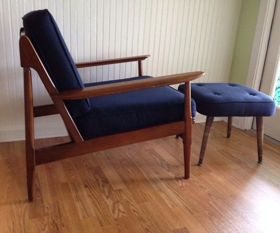 Vintage Danish Modern Chair Eames Era Mid Century Chair With Navy Blue  Upholstered Cushions Tufted Footrest Included At Modern Logic