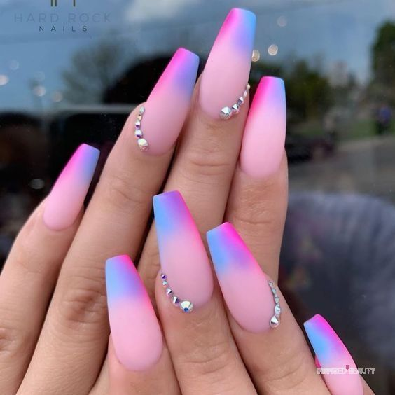 Inspired Beauty Bright Multicolor Nails That Are Perfect Glow Nails Best Acrylic Nails Ombre Acrylic Nails