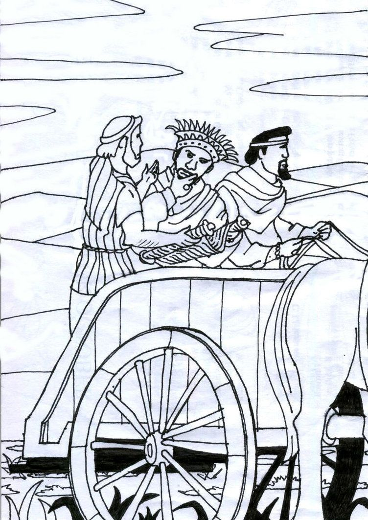 Philip And The Ethiopian Man Coloring Pages Printable To Sweet