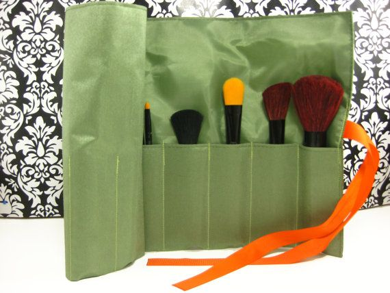 Green Roll Up Makeup Brush Bag Pencil Roll by TwoUnder2 on Etsy