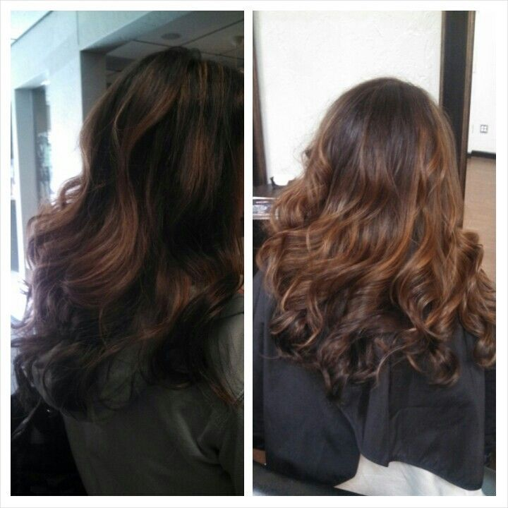 Dark Brown Level 4 Hair With Carmel Highlights Ombre With Loose Curls Hair By Danielle Long Hair Styles Hair Hair Styles