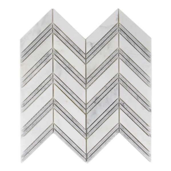 chevron mosaic carrara bianco carrera