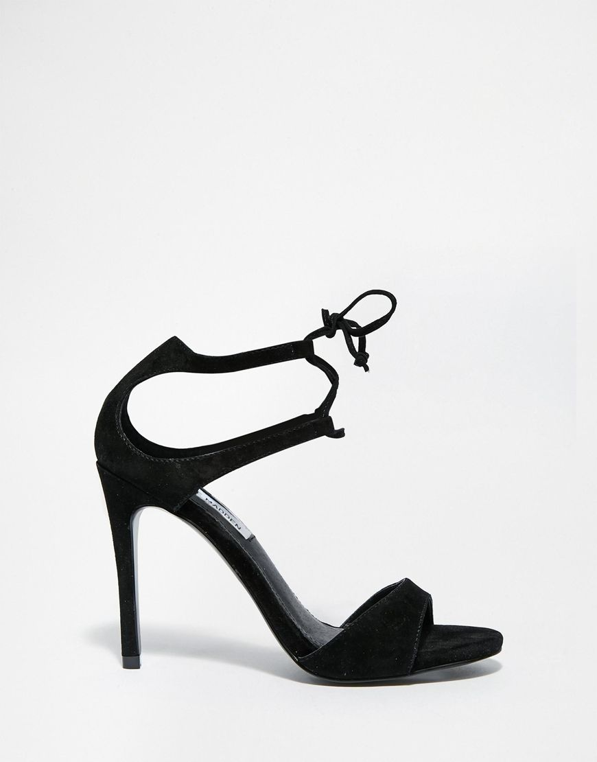Image 1 of Steve Madden Semona Black Tie Up Barely There Heeled Sandals