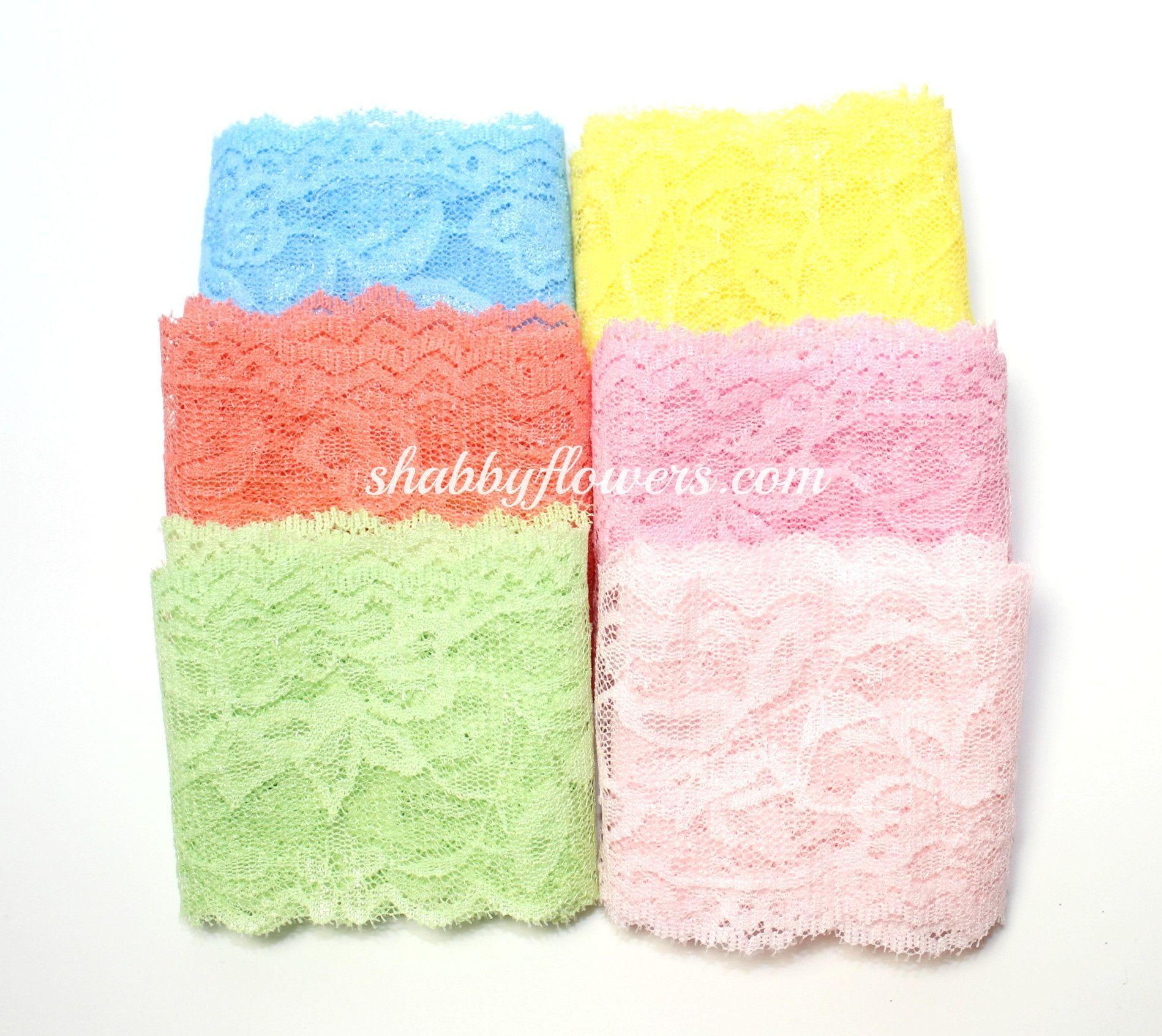 """2.25"""" Lace Elastic Pastel Pack of 6 Colors"""