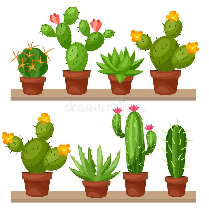 Coleccion De Cactus Abstractos En Maceta Encendido Ilustracion Del Vector Ilustracion De Flayer Fo En 2020 Dibujos De Macetas Cactus Para Colorear Pintura De Cactus