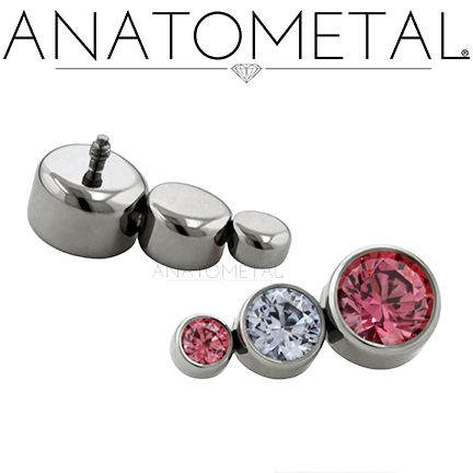 16ga Threaded Clusters in ASTM F-136 titanium with CZ and Salmon Pink CZ gemstones