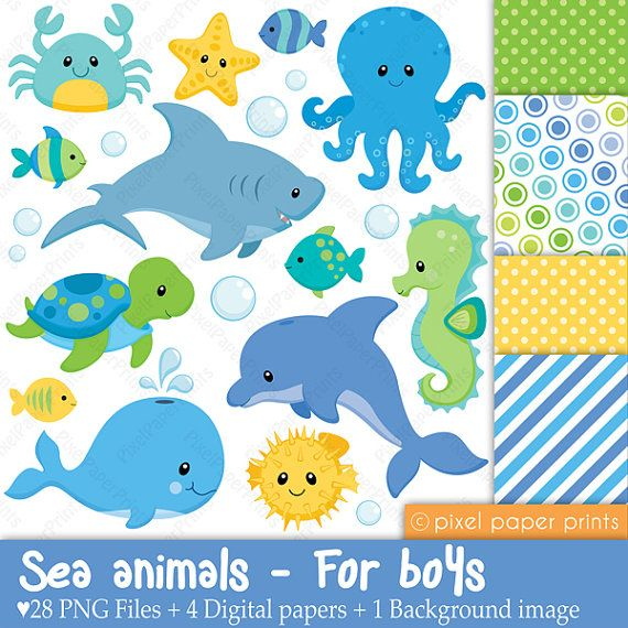 Sea Animals For Boys Clipart And Digital Paper Set Etsy In 2021 Digital Paper Sea Animals Clip Art