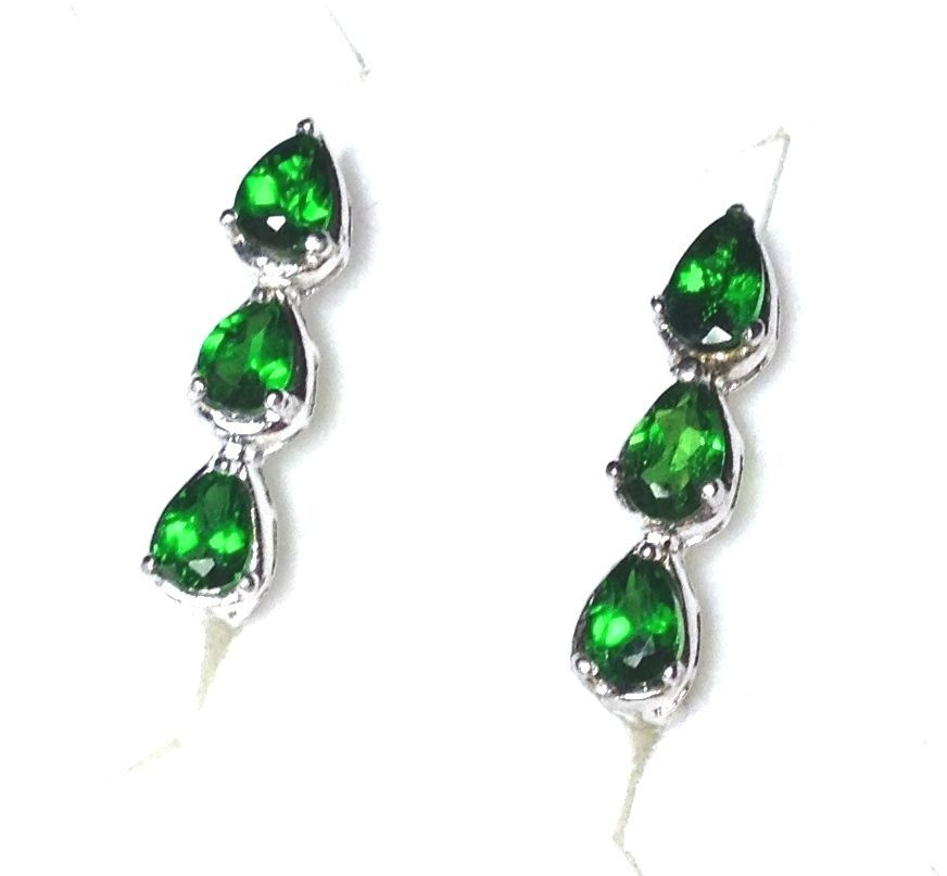 Russian Chrome Diopside Earrings 5 8 Inch Click Back Sterling Silver 1 45 Ctw
