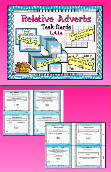 relative adverb task cards l 4 1 a adverbs. Black Bedroom Furniture Sets. Home Design Ideas