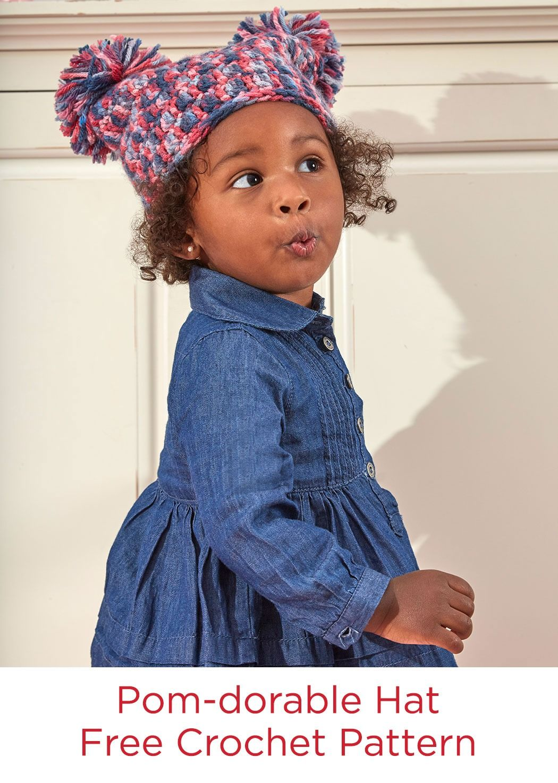 Pom-dorable Hat Free Crochet Pattern in Red Heart Baby Hugs Medium ...