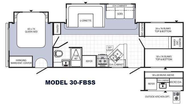 Travel trailer bunkhouse floor plans for Bunkhouse floor plans