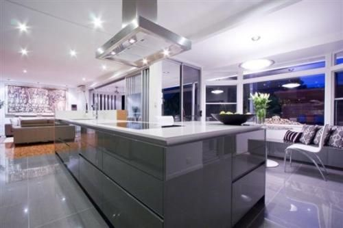 Good Quality of Galley Kitchen with Island Lighting