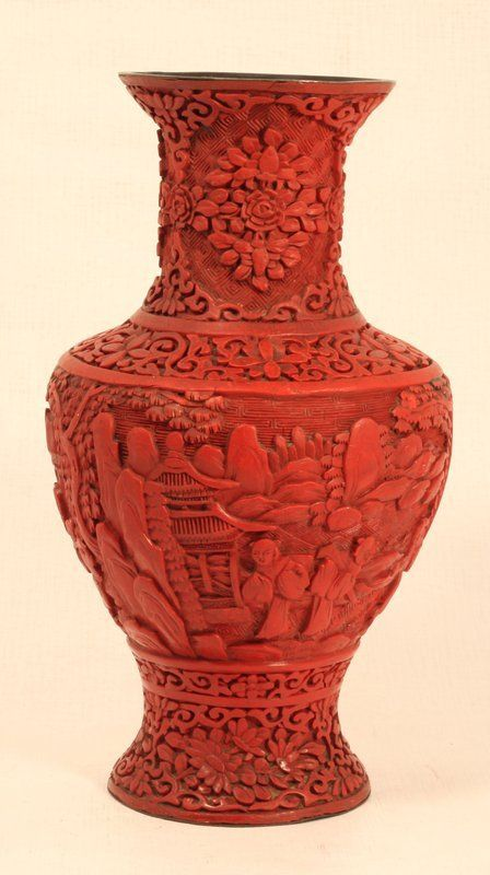 Chinese Antique Cinnabar Carved Vase Cinnabar Pinterest