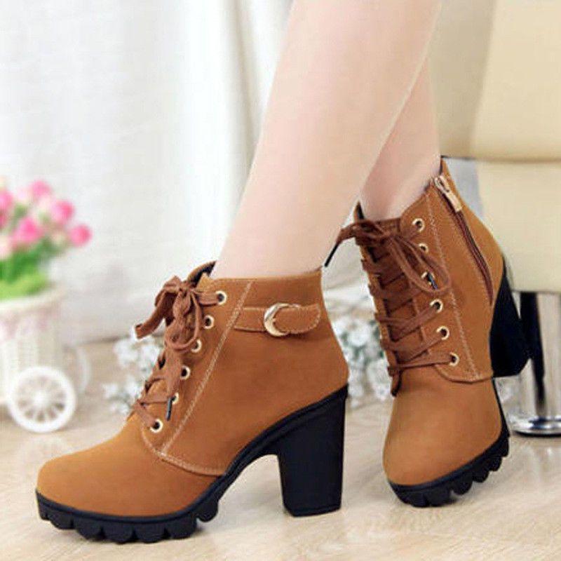 2672234d4d Womens High Heels Ankle Martin Boots Ladies Zipper Lace Up Buckle Platform  Shoes