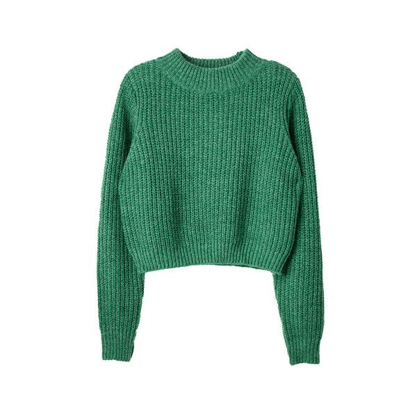[KNITWEAR]컬러 믹스 크롭 니트 ❤ liked on Polyvore featuring tops, sweaters, jumpers, shirts, green jumper, green top, green sweater, shirt tops and knitwear sweater