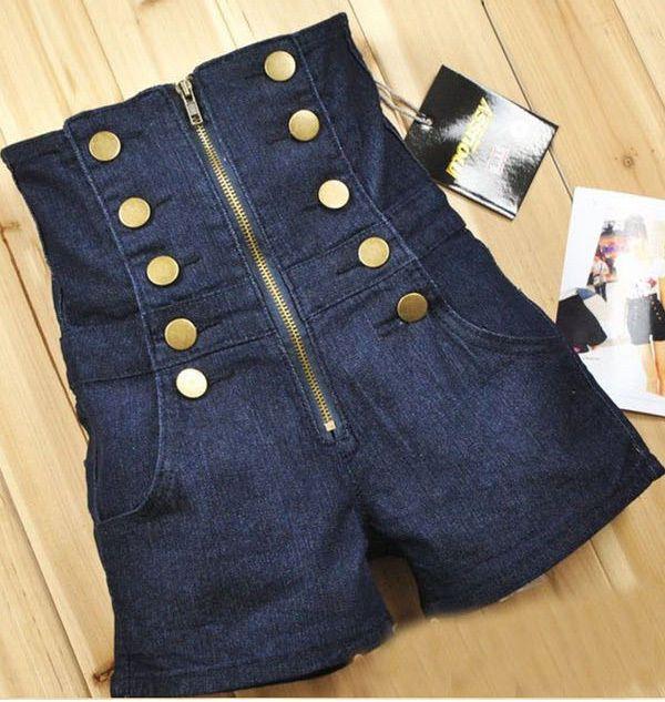 Double Breasted Zipper Vintage cintura alta Womens jean calças tamanho S M L em Shorts de Roupas e Acessórios Femininos no AliExpress.com   Alibaba Group